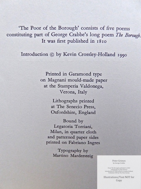 Peter Grimes, The Folio Society, Copyright and Colophon
