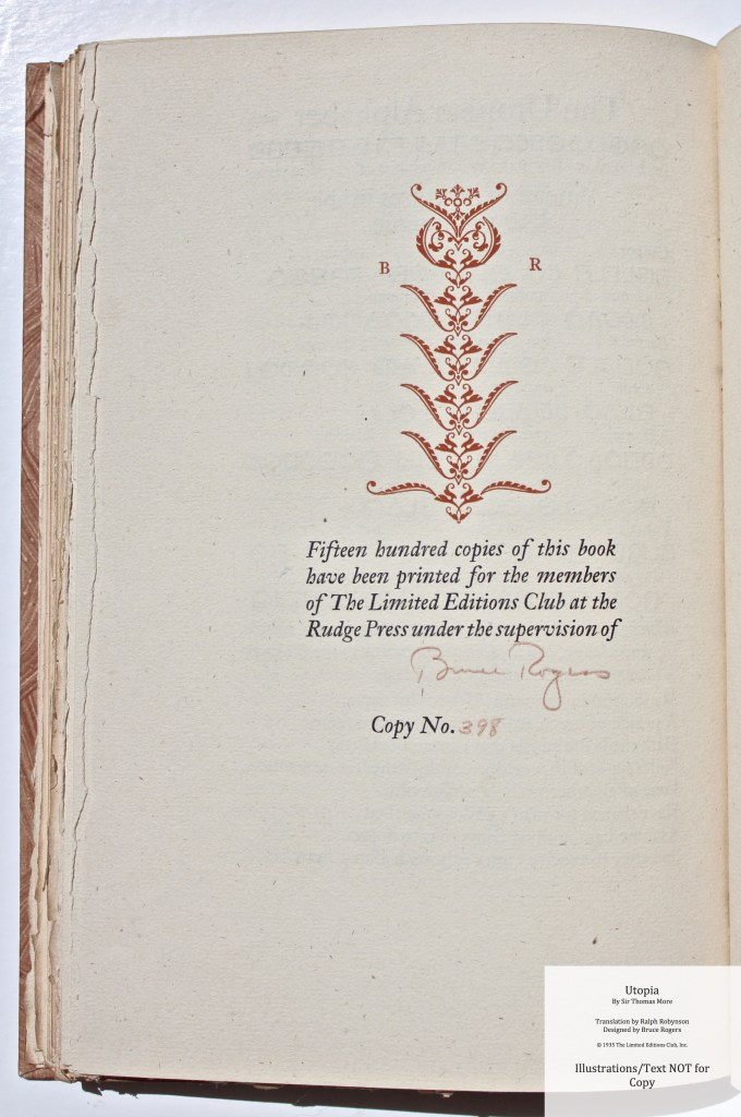 Utopia, Limited Editions Club, Colophon with Decoration