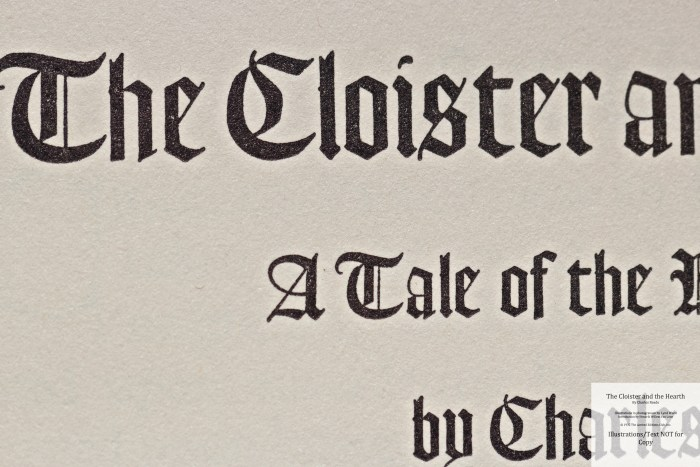 The Cloister and the Hearth, Limited Editions Club, Macro of Title Page