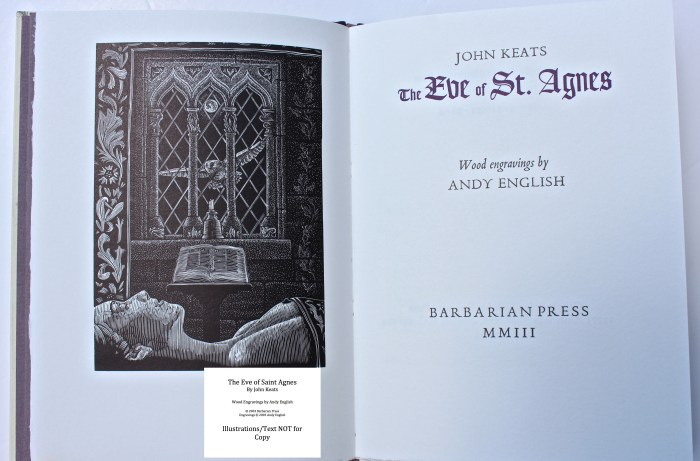 The Eve of Saint Agnes, Barbarian Press, Frontispiece and Title Page
