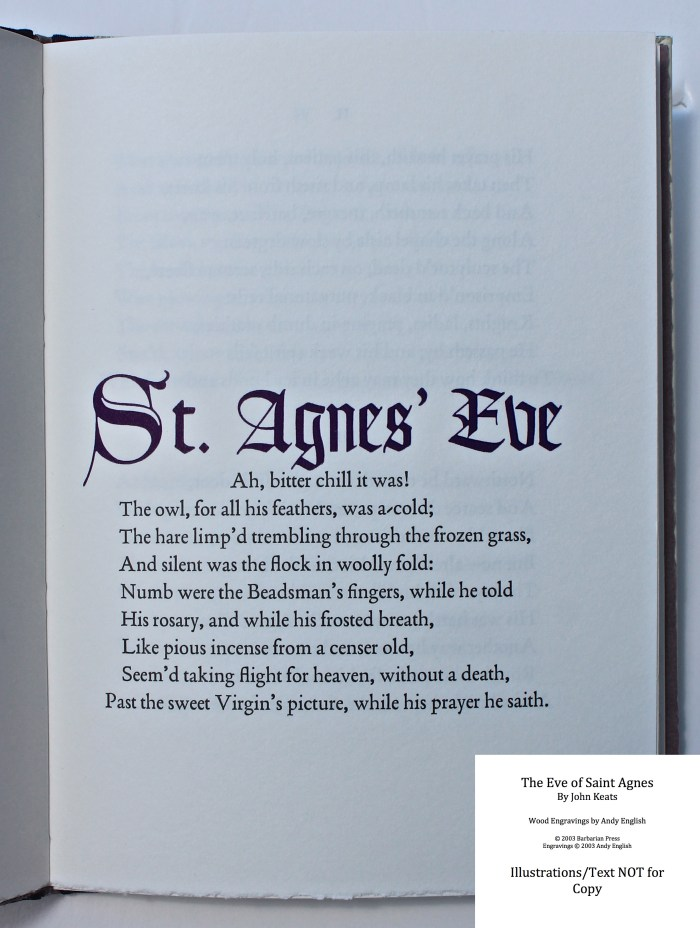 The Eve of Saint Agnes, Barbarian Press, Sample Text #1