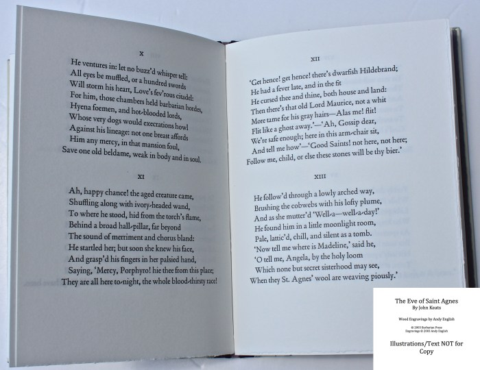 The Eve of Saint Agnes, Barbarian Press, Sample Text #2