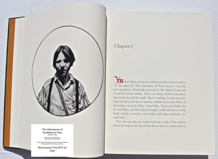 The Adventures of Huckleberry Finn, Pennyroyal Press, Sample Illustration #1 with Text