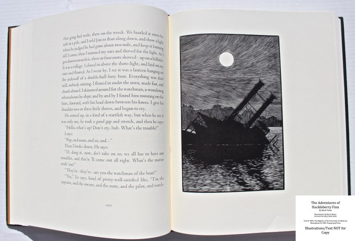 The Adventures of Huckleberry Finn, Pennyroyal Press, Sample Illustration #6 with Text