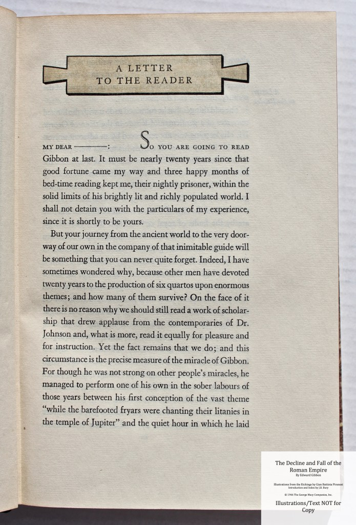 The Decline and Fall of the Roman Empire, Limited Editions Club, Sample Text #1