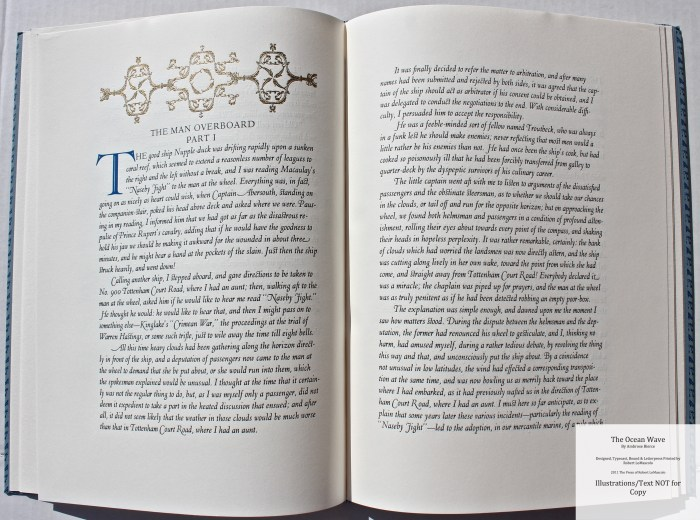The Ocean Wave, The Press of Robert LoMascolo, Sample Text 3 with Decoration