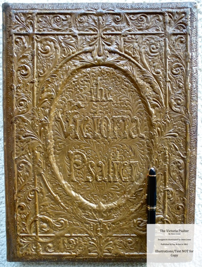The Victoria Psalter, Day and Son, Front board with superimposed fountain pen to illustrate folio size of book