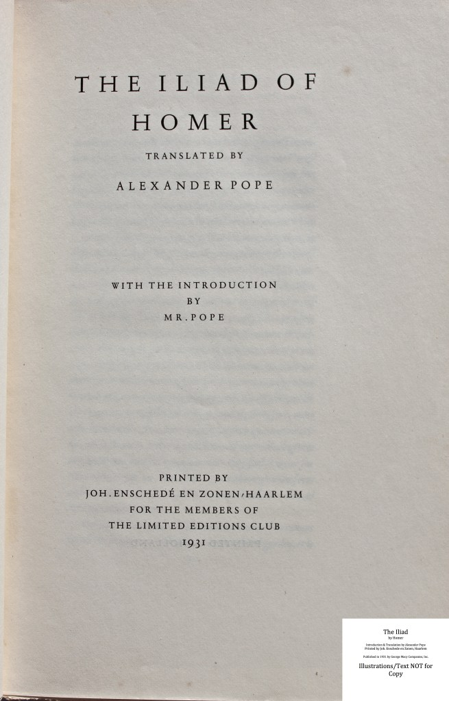 The Iliad, Limited Editions Club, Title Page
