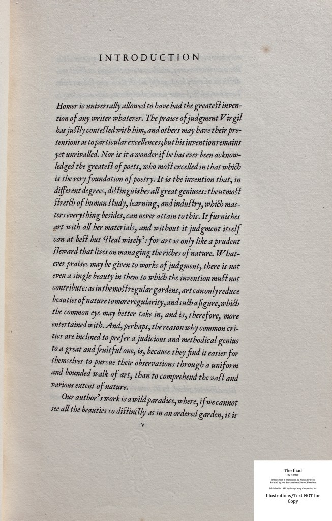 The Iliad, Limited Editions Club, Sample Text #1