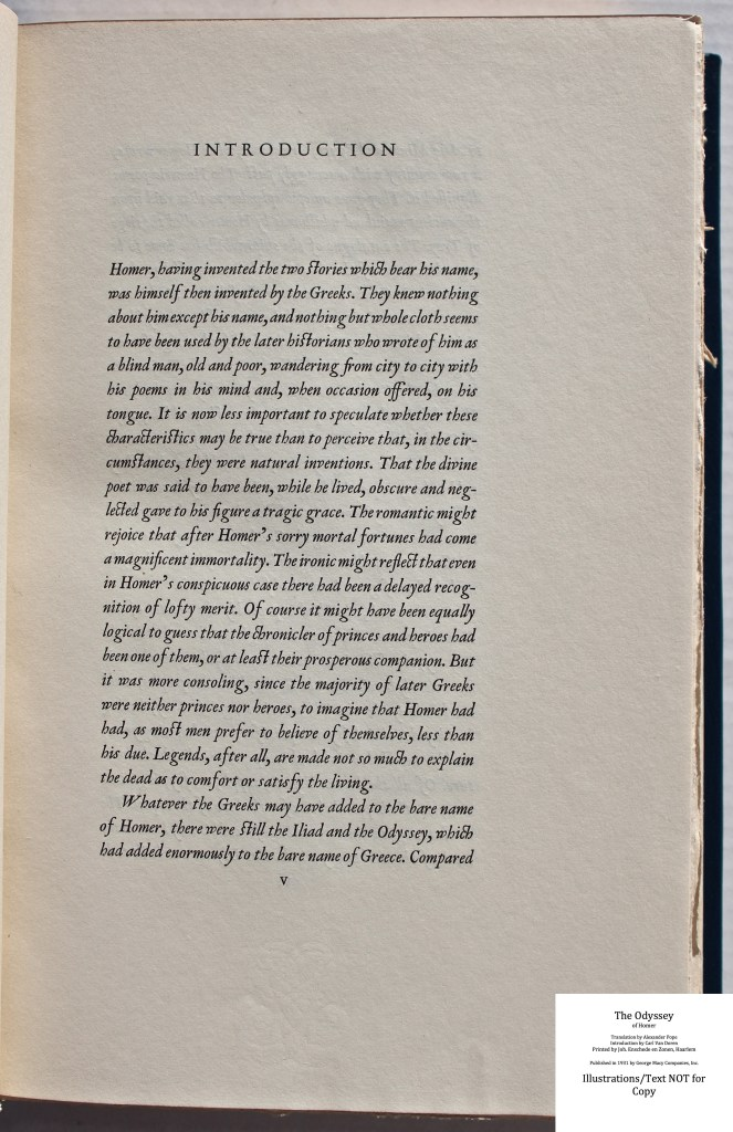 The Odyssey, Limited Editions Club, Sample Text #1