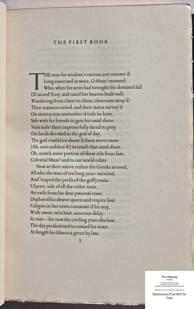The Odyssey, Limited Editions Club, Sample Text #4