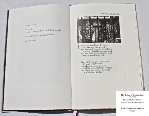 The Ballad of Reading Gaol, The Old Stile Press, Sample Illustration #1 with Text