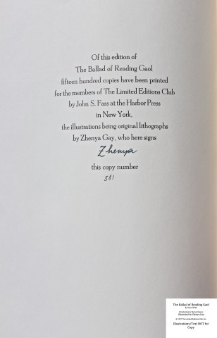 The Ballad of Reading Gaol, The Limited Editions Club, Colophon