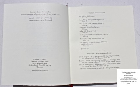The Ingoldsby Legends, Barbarian Press, Sample Text #1 (Copyright and Contents)