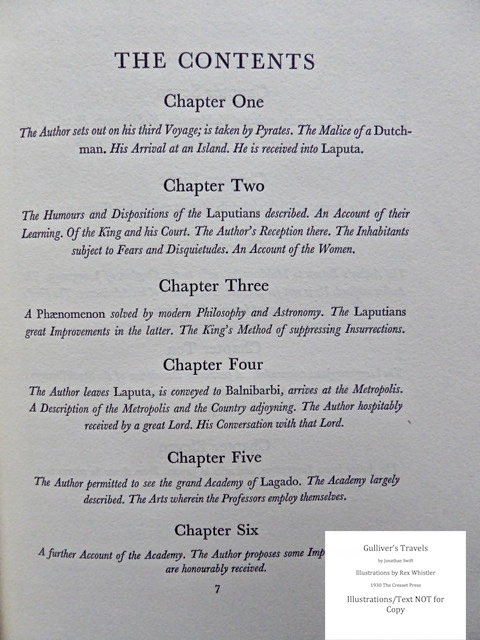 Gulliver's Travels, Cresset Press, Volume II: Table of Contents