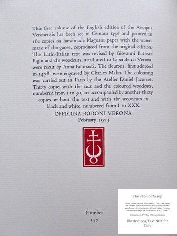 The Fables of Aesop, Officina Bodoni, Colophon to Volume One