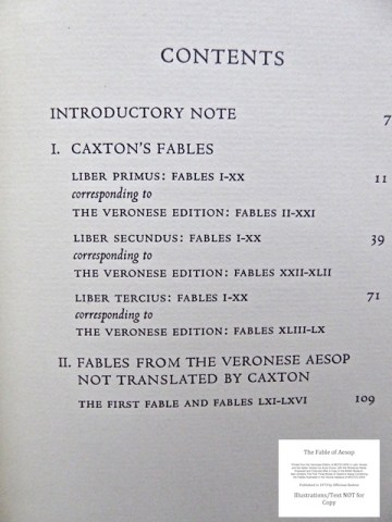 The Fables of Aesop, Officina Bodoni, Volume Two: Table of Contents