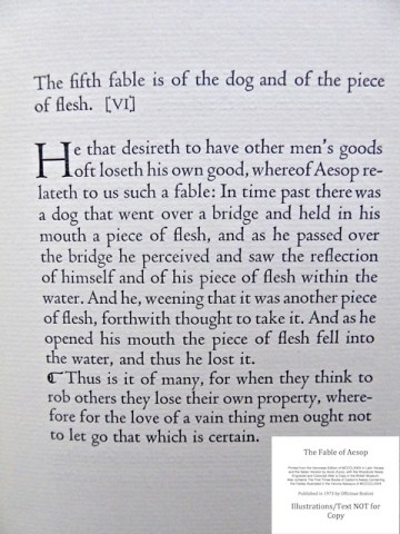 The Fables of Aesop, Officina Bodoni, Sample Text #4 - Caxton Translation: Fable Number Five