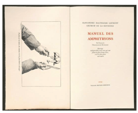 Manuel Des Amphitryons, Tallone Editore, Title Page and Frontispiece