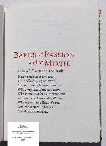 Fancy: 8 Odes of John Keats, Barbarian Press, Sample Text #3 (Bards of Passion)