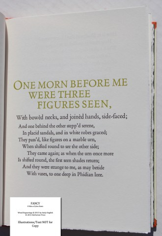 Fancy: 8 Odes of John Keats, Barbarian Press, Sample Text #7 (Ode on Indolence)