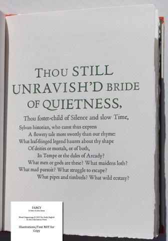 Fancy: 8 Odes of John Keats, Barbarian Press, Sample Text #6 (Ode on a Grecian Urn)
