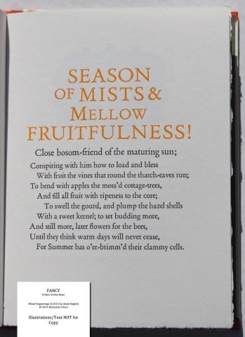 Fancy: 8 Odes of John Keats, Barbarian Press, Sample Text #8 (To Autumn)