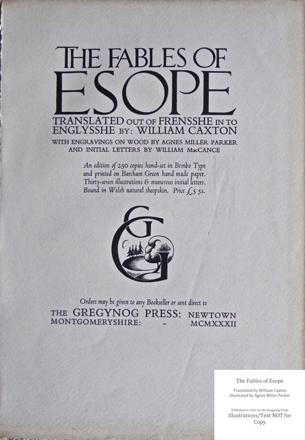 The Fables of Esope, Gregynog Press, Title Page 1