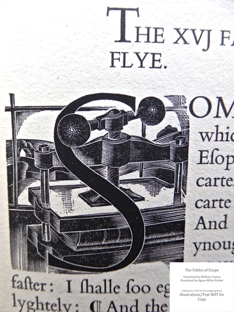 The Fables of Esope, Gregynog Press, Sample Illustration, Initial Lettering and text #9