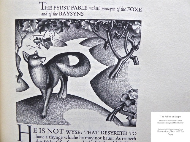 The Fables of Esope, Gregynog Press, Sample Illustration, Initial Lettering and text #12