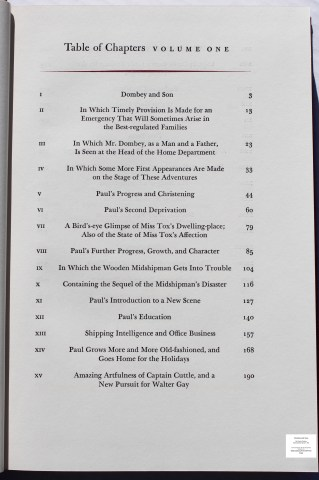 Dombey and Son, Limited Editions Club, Sample Text #1 (Contents)