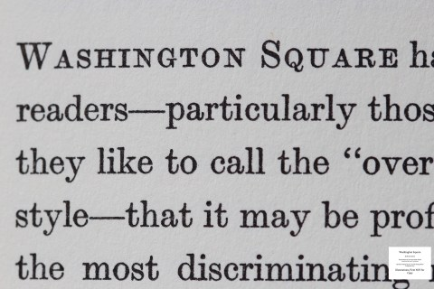 Washington Square, Limited Editions Club, Macro of Sample Text #1 (Introduction)