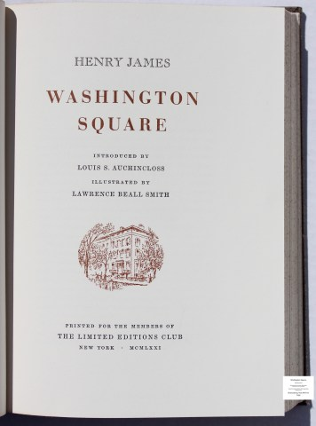 Washington Square, Limited Editions Club, Title Page