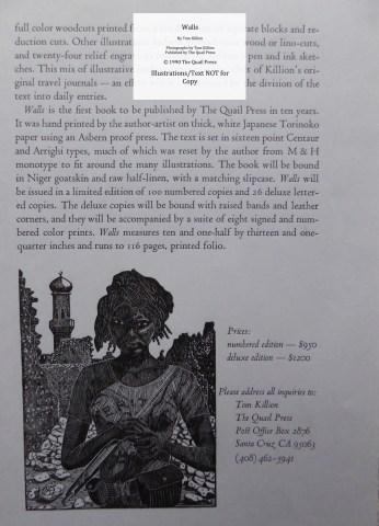 Walls, Quail Press, Prospectus #2