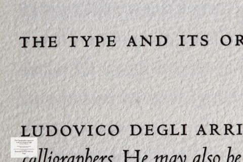 The Typographic Legacy of Ludovico degli Arrighi, Peter Koch Printers, Macro of Sample Text #1