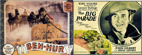 Wallace's Ben-Hur, Laurence Stalling's Plumes (King Vidor's The Big Parade with John Gilbert)