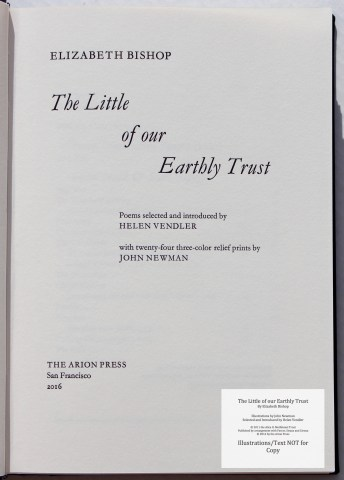 The Little of our Earthly Trust, Arion Press, Title Page