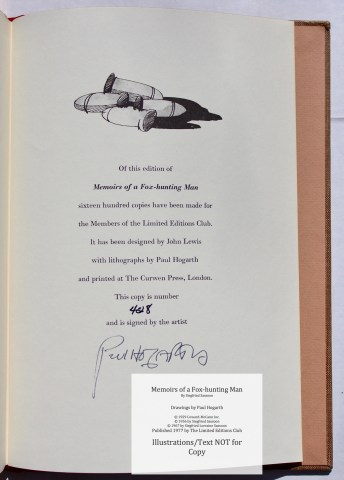 Memoirs of a Fox-hunting Man, Limited Editions Club, Colophon