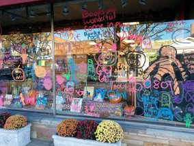 Halloween Display (courtesy of the local scout troop) | Just the Bookstore, Glen Ellyn, IL
