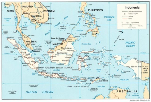 Map of Indonesia, showing Malaysia to the north. Philippines, Vietna, Cambodia, Thailand, and Burma above that. Australia is to the south. Papua New Guinea shares an island to the East