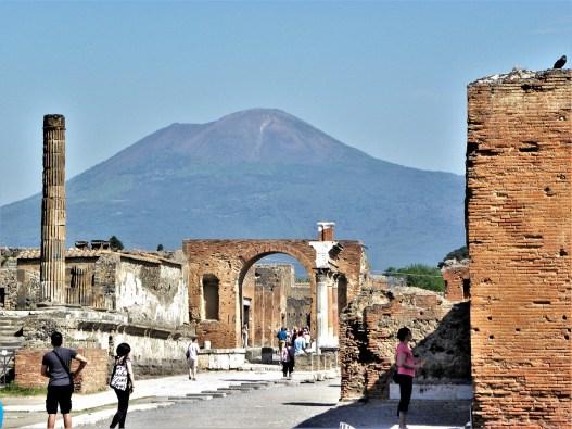 Mount Vesuvius in background, Pompeii ruins in foreground