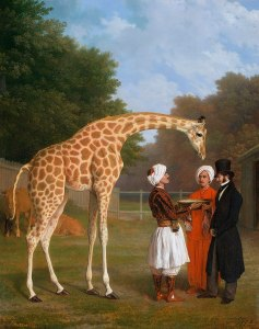 The Giraffe Who Walked to Paris is in a painting of the era, the giraffe's long neck bending down to of the giraffe's handlers from Egypt (men), and a European French man in a top hat, dressed like he is of the British Regency era.