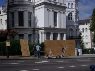 Private building on Ladbroke Grove being boarded up