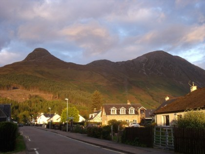 View of the munros from Glencoe village