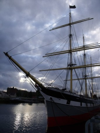Evening light over the Glenlee tall ship