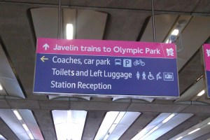 Signs for the Javelin train at St Pancras
