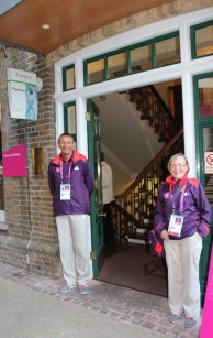 Games Makers at the entrance to the Pavilion