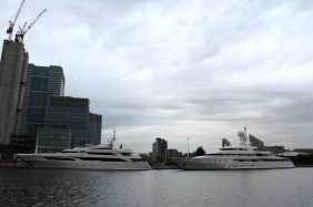 Luxury yachts moored at South Quay