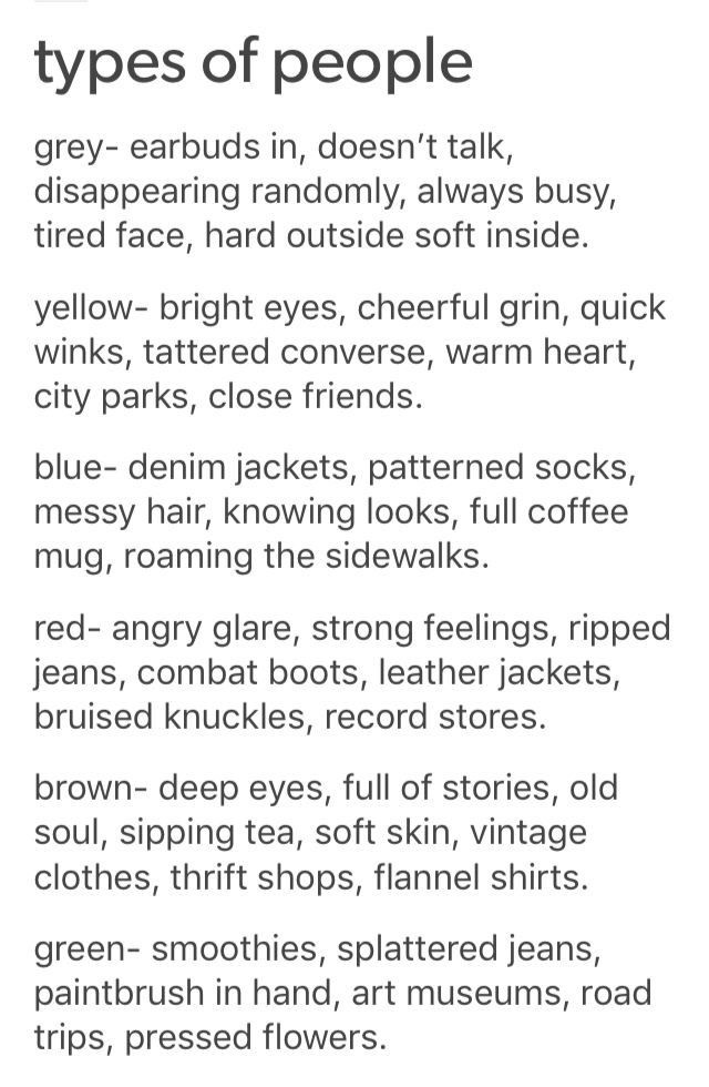 Types of People as Colors