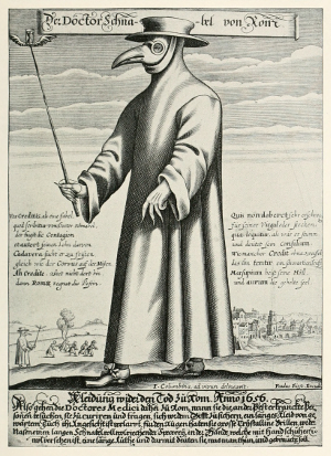 Old engraving, Dr. Schnabel, the Plague Doctor dressed in gloves and a heavy gown, a bird-like mask, and carrying a staff.